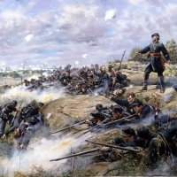 """""""Don't Give an Inch"""" . Colonel Strong Vincent on Little Round Top during the battle of Gettysburg, July 2, 1863"""