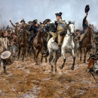 George Washington leads his men at the battle of Princeton, January 3, 1777