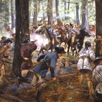 """""""King's Mountain"""" . Patriot forces crush a Loyalist army led by Patrick Ferguson , Oct 7, 1780"""