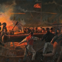 """""""Our Flag Was Still There"""". The Star Spangled Banner flies during the bombardment of Fort McHenry in Baltimore Harbor , September 13-14 ,1814"""