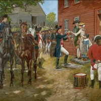 """""""Answering Liberty's Call """" . During the American Revolution a Continental Army officer departs from his home and family."""