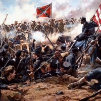 """""""Mahone's Counterattack"""" Black troops in a desperate struggle with Confederates during the battle of the Crater , July 30, 1864"""