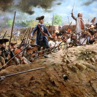 """""""Bunker Hill"""" . The Patriot Militia prepare to fire at the oncoming British host during the Battle of Bunker/Breed's Hill , June 17, 1775"""